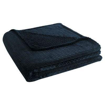 VCNY Knitted Chevron Blanket - Black  (Full/Queen)