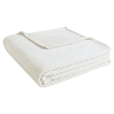 VCNY Knitted Chevron Blanket - Ivory (Full/Queen)