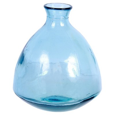 "Recycled Glass Blue Small Round Vase 7.5""H"