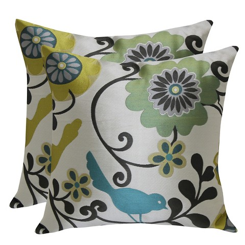 Bird Pattern Throw Pillows : Bird & Floral Jacquard Pattern Throw Pillow with... : Target