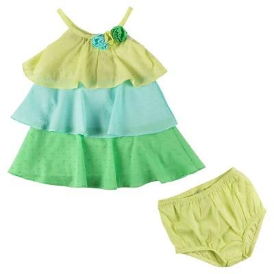 Penny M Baby Girls' Tiered Swiss Dot Sun Dress Set - Multicolored 12M