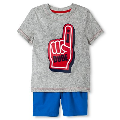 Toddler Boys' T-Shirt and Short Set - Heather Grey & Blue 3T - Circo™