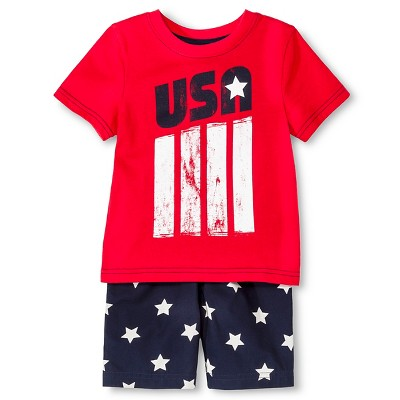 Baby Boys' T-Shirt and Short Set - Really Red & Navy Stars 12M - Circo™