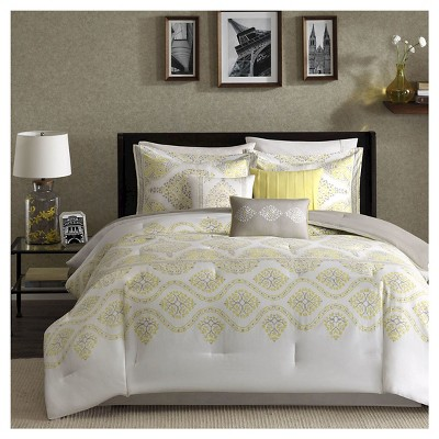 Colima  7 Piece Comforter Set- Yellow (Queen )