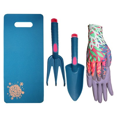 Garden 4 Pack EVA Kneeling Pad, Plastic Garden Trowel, Plastic Cultivator and Ladies Garden Gloves - Size Ladies Large