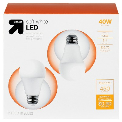 6.5 Watt, 40W Equivalent, 10,000hr, Non-Dimmable LED, 2 Pk - up & up™