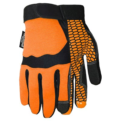 Synthetic Palm with Silicone Pattern 40g. Thinsulate Insulation Gloves - Orange L