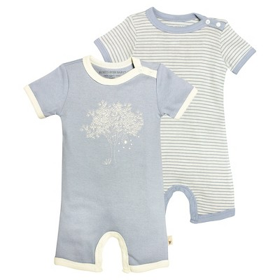 Newborn Boys' Burt's Bees Baby™ 2 Pack Shortall - Blue 0-3M
