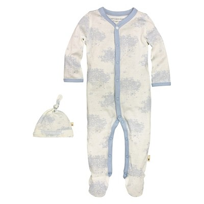 Newborn Boys' Burt's Bees Baby™ Coveral & Hat - Blue 0-3M 6-9M