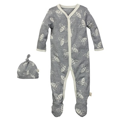 Newborn Burt's Bees Baby™ Coveral & Hat - Gray 0-3M