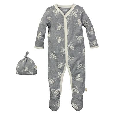 Newborn Burt's Bees Baby™ Coveral & Hat - Gray 3-6M
