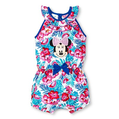 Disney Minnie Mouse Newborn Girls' Romper - White 0-3M