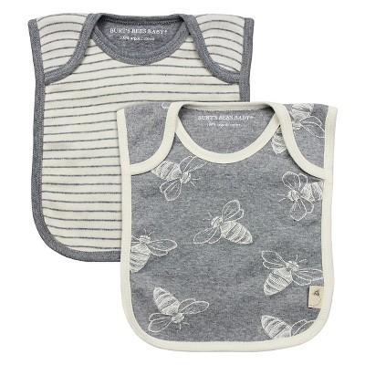 Newborn Boys' Burt's Bees Baby™ 2 Pack Bibs - Grey