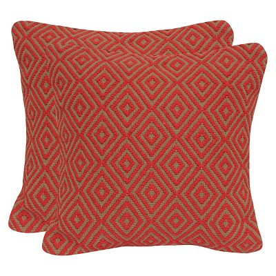 Diamond Jute & Cotton Throw Pillow with Canvas Back - Flame - 20x20