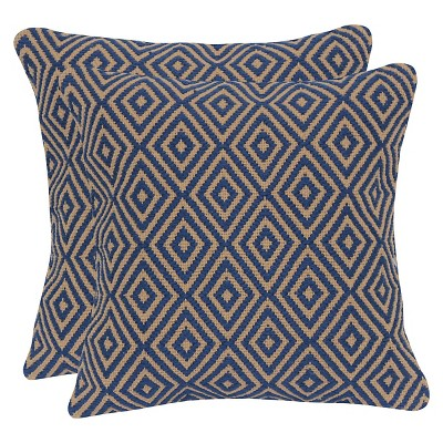Diamond Jute & Cotton Throw Pillow with Canvas Back - Indigo - 20x20