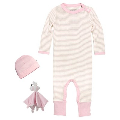 Newborn Girls' Burt's Bees Baby™ Coveral, Hat & Lovey - Pink 3-6M