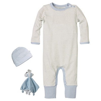 Newborn Boys' Burt's Bees Baby™ Coveral-Hat & Lovey - Blue 0-3M