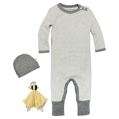Newborn Burt's Bees Baby™ Coveral-Hat & Lovey - Gray 3-6M