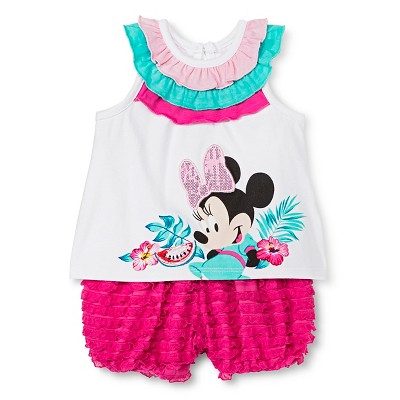 Disney Minnie Mouse Newborn Girls' Bubble Short Set - White 6-9M