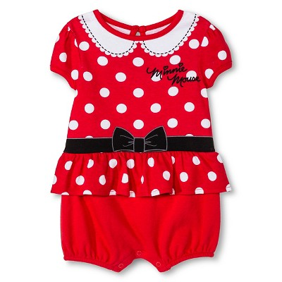 Disney Minnie Mouse Newborn Girls' Romper - Red 0-3M