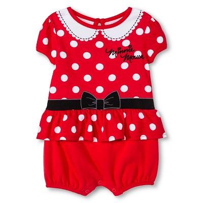 Disney Minnie Mouse Newborn Girls' Romper - Red 24M