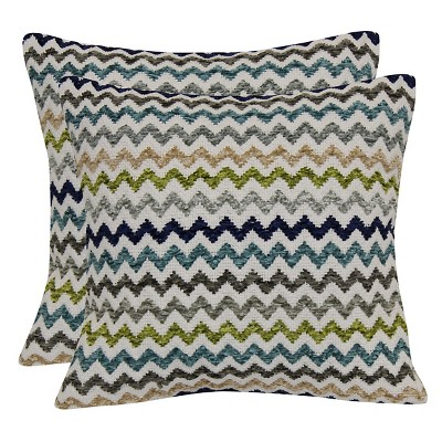 Multi Colored Chevron Throw Pillow with Canvas Back - Cool - 18x18