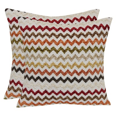 Multi Colored Chevron Throw Pillow with Canvas Back - Warm - 18x18