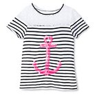 Girls' Miss Chievous Striped Tee with Sequin Anchor - Black XS