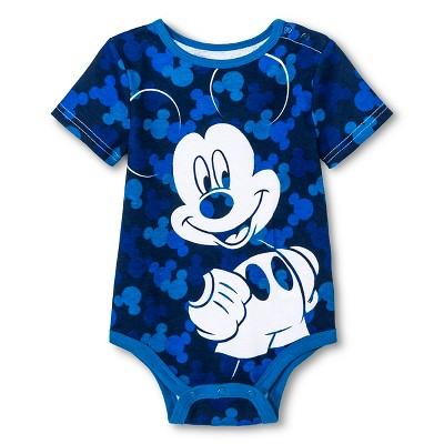 Disney Mickey Mouse Newborn Boys' Bodysuit - Blue 0-3M