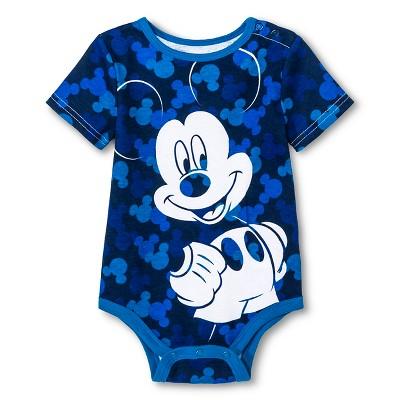 Disney Mickey Mouse Newborn Boys' Bodysuit - Blue 12M