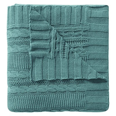 Dublin Cable Knit Throw - Spa/Blue - 50x70