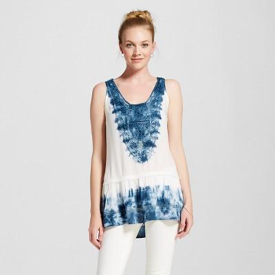Women's Ruffled Tie Dye Tank Blue/White XL - Knox Rose™