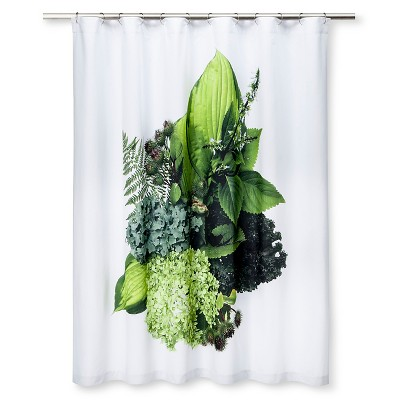 STILL Shower Curtain Bouquet Of Kale, Hosta, Hydrangea, Thistle & Fern by Mary Jo Hoffman