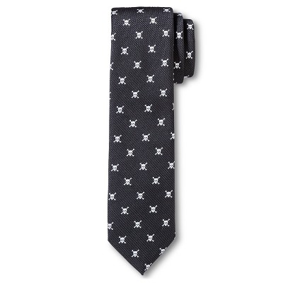 Men's Skull Print Tie Black - City of London
