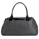 Bueno of California Women's Nylon Weekender Handbag with Stripes - Black/White