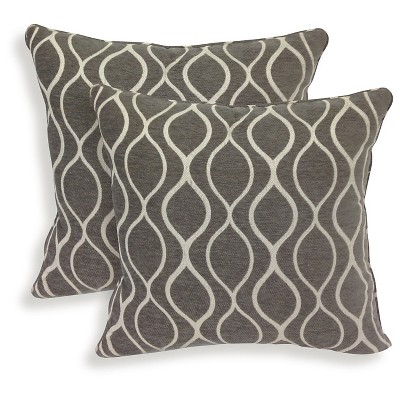 "Essentials Gemma Chenille Geometric Throw Pillow - 2 Pack - Charcoal (20"" x 20"")"