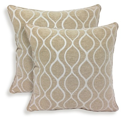 "Essentials Gemma Chenille Geometric Throw Pillow - 2 Pack - Camel (20"" x 20"")"
