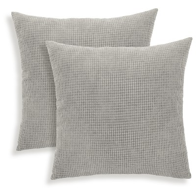 "Essentials Tyler Textured Woven Throw Pillow - 2 Pack - Charcoal (18"" x 18"")"