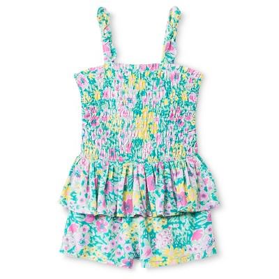 Baby Girls'  Floral Peplum Romper Green 12M - Genuine Kids from Oshkosh™