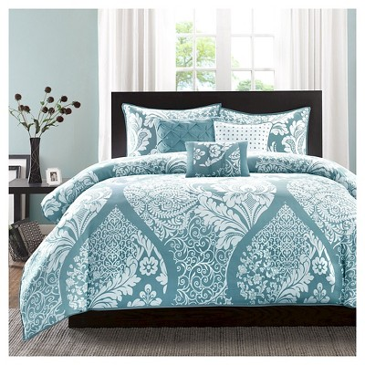 Adela 6 Piece Duvet Cover Set- Blue (King/Cal King )
