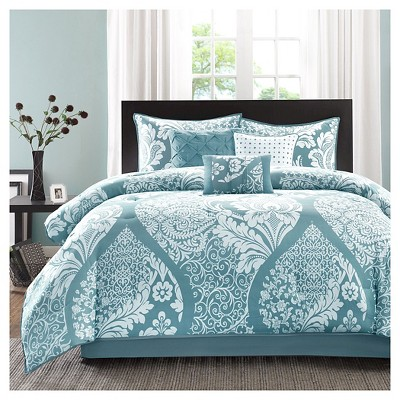 Adela 7 Piece Cotton Printed Comforter Set- Blue (Queen )