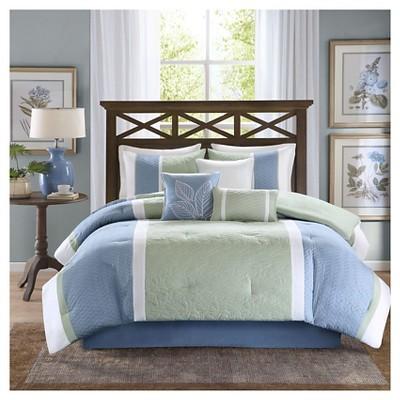 Jillian  7 Piece Comforter Set- Blue  (King)