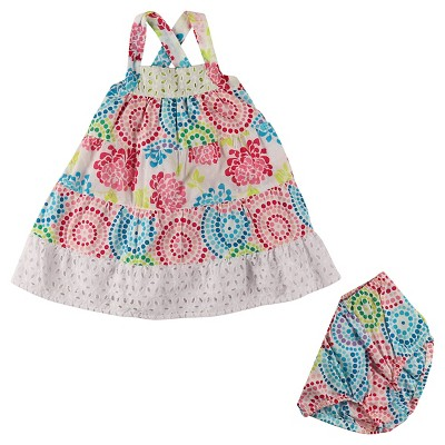 Penny M Baby Girls' Mosaic Floral Mix Eyelet Sun Dress Set - Multicolored 18M
