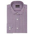 Men's Big & Tall Slim Fit Wrinkle Free Gingham Dress Shirt Purple - City of London