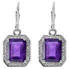 6 CT. T.W. Radiant-Cut Amethyst Dangle Prong-Set Earrings in Sterling Silver - Purple