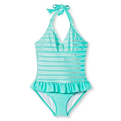 Girls' Stripe Pattern One-Piece Swimsuit Circo XS Aqua - Circo™