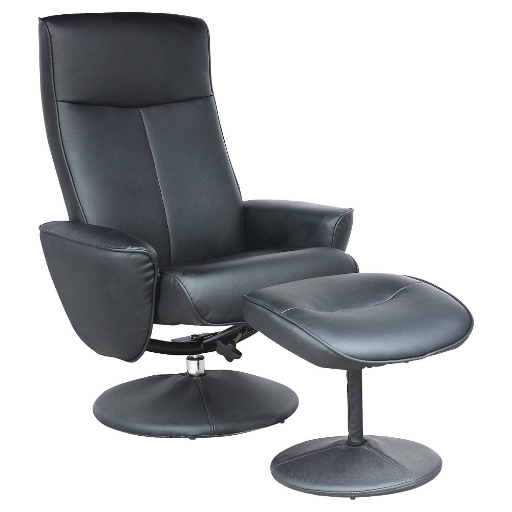 Corliving Yalaha Leatherette Reclining Lounge Chair With Ottoman - Rich Black