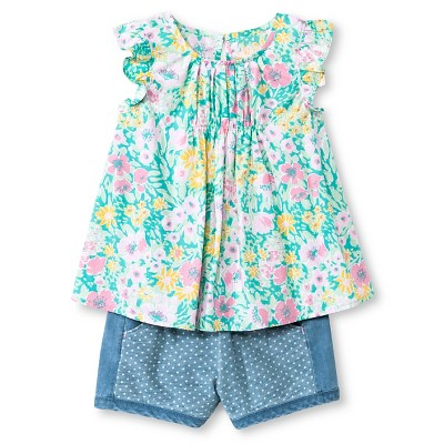 Toddler Girls' Floral 2-Piece Set Green/Blue 2T - Genuine Kids from Oshkosh™