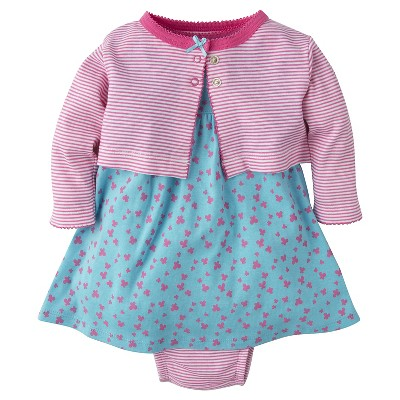 Gerber® Newborn Girls' 3 Piece Butterflies Cardigan, Dress & Panty Set - 0-3M Aqua