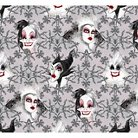 """Disney Villains Face, Gray, 100% Cotton, 43/44"""" Width, Fabric by the Yard"""